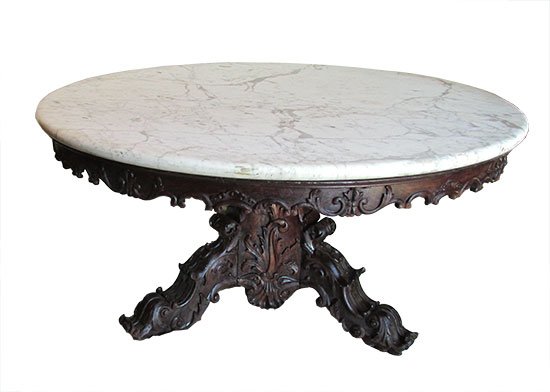 Round Marble Top Table Wooden Nickel Antiques