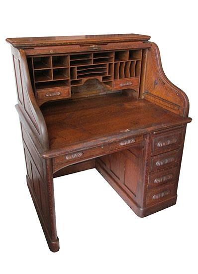Small Oak Roll Top Desk Wooden Nickel Antiques