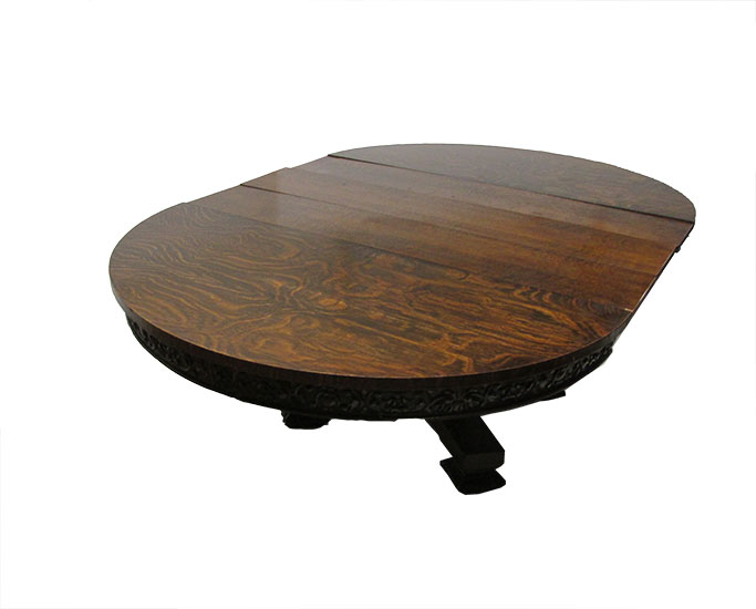 Large Oak Dining Table, with Ornately Carved Trim