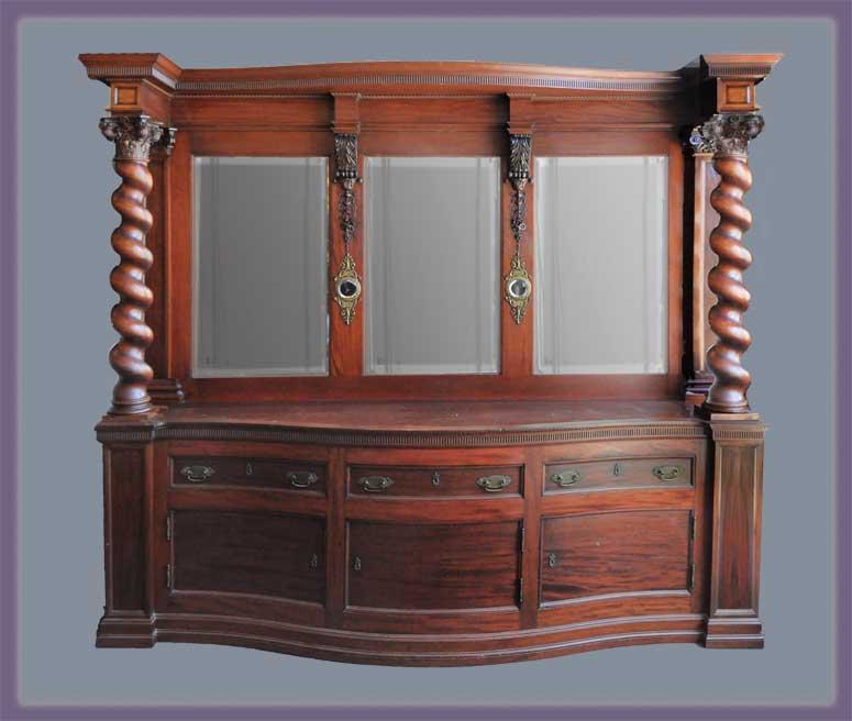 Custom Mahogany Sideboard, with Twisted Columns