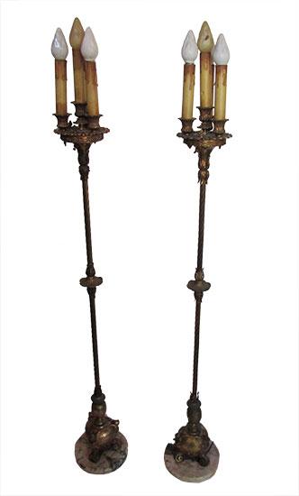 Torchiere Floor Lamp Wooden Nickel Antiques