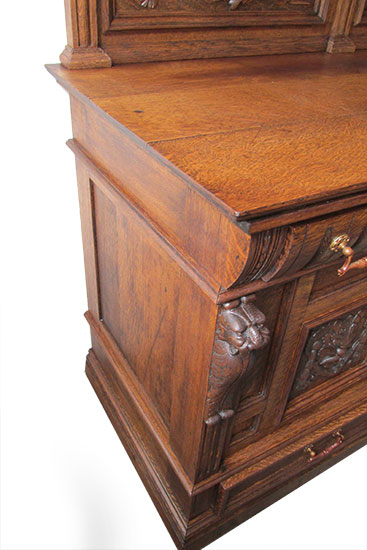 Oak Curio Top Sideboard Wooden Nickel Antiques
