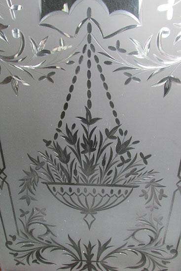 Wheel Cut Glass Window Wooden Nickel Antiques