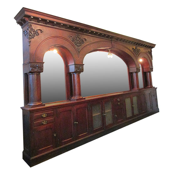 21-Foot, Triple Arch, Mahogany Back Bar