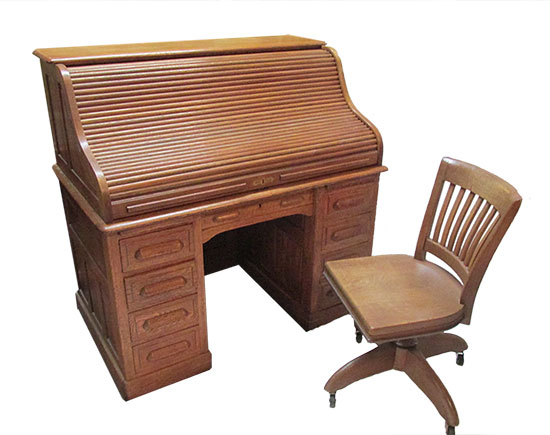 Oak Roll Top Desk With Chair $1,250 - Antique Furniture - Wooden Nickel Antiques