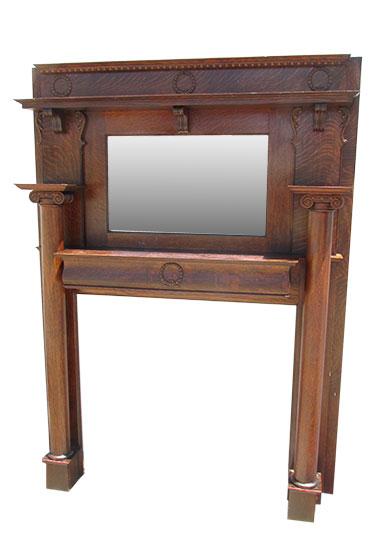 Oak Mantel with Mirror