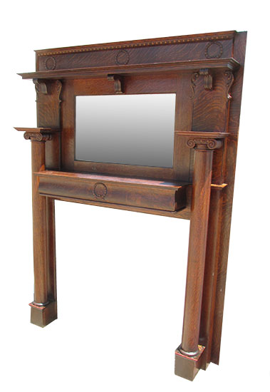Oak Mantel With Mirror Wooden Nickel Antiques