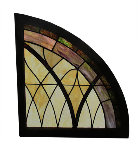 Pair Arch Stained Glass Wooden Nickel Antiques