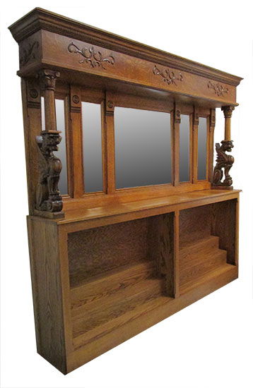 Oak Back & Front Bar, with Beveled Inset Mirrors