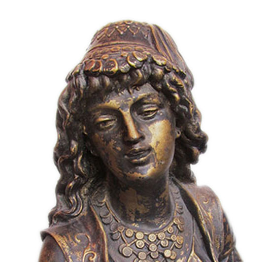 Victorian Statue of Gypsy Girl with Mandolin