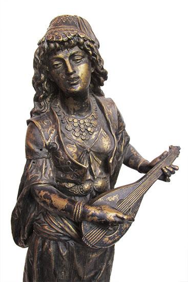 Victorian Statue of Gypsy Girl with Mandolin - Wooden Nickel