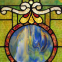 Stained Glass Window, with Blue Circle in Middle