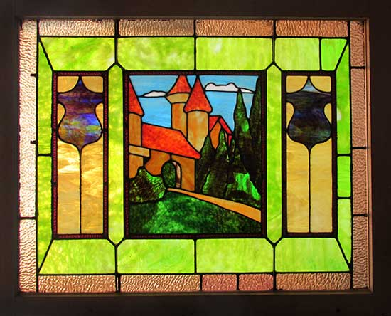 Stained Glass Window with Castle in Center