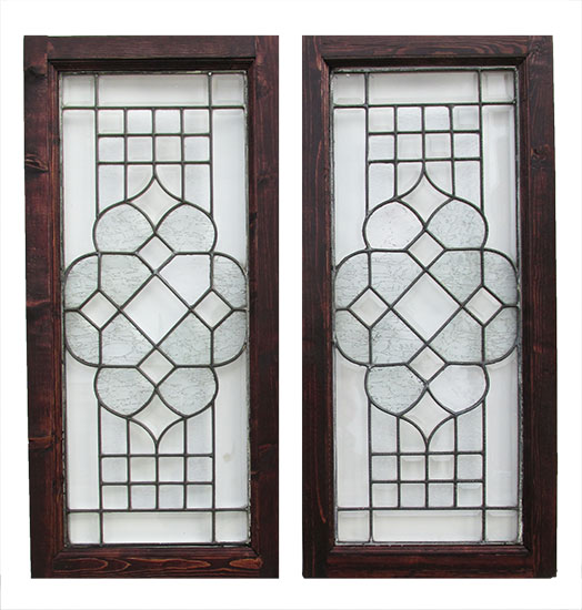 Pair of Beveled Glass Windows