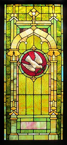 Stained Glass Window with White Dove Inset