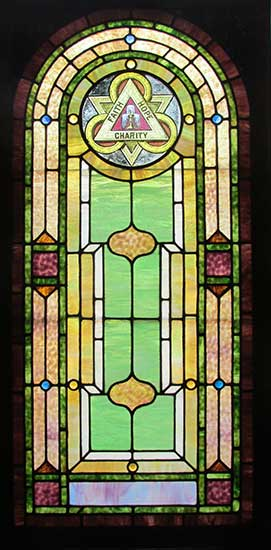 "Stained Glass Window with ""Faith, Hope & Charity"" Emblem"