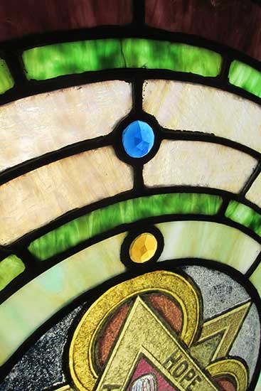 Stained Glass Window With Quot Faith Hope Amp Charity Quot Emblem