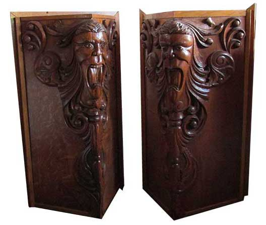 Pair of Carved-Oak Bar Ends - Antique Furniture - Wooden Nickel Antiques
