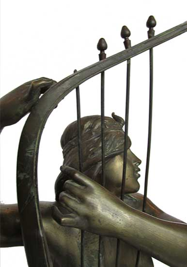 Bronze Sculpture of Eqyptian Woman with Lyre