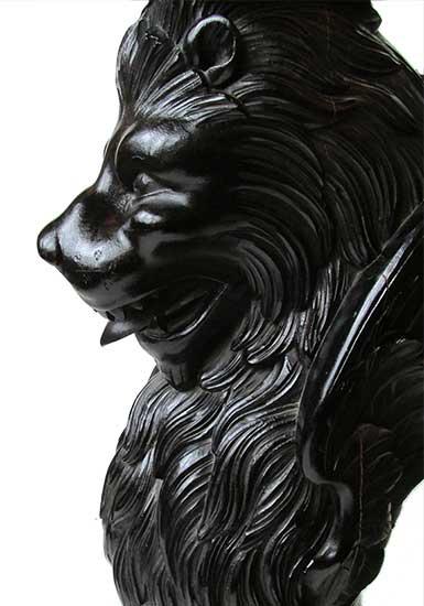 Ebonized Winged Lion Pedestal