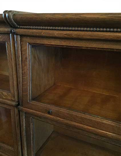 Pair of Oak Four Stack, Step-Back Bookcases