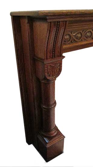 Oak Half Mantel, with Metal Fireplace Frame & Tile Set
