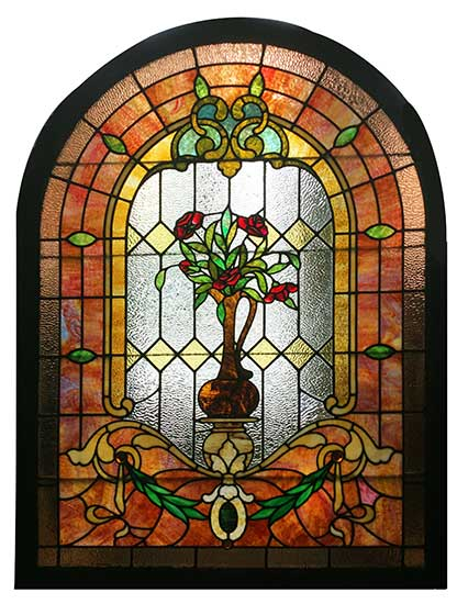 Arch Top, Stained Glass Window, with Roses and Vase