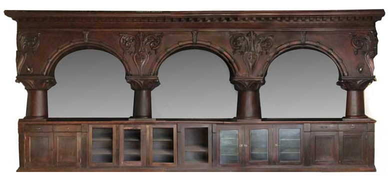 "24-Foot Brunswick ""Majestic"" Mahogany Back Bar"
