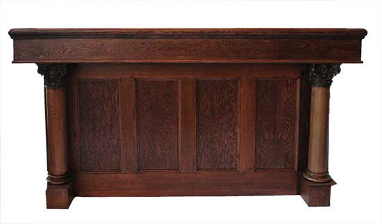 Four-Panel Oak Front Bar