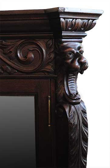 Rich, Three-Door, Mahogany Bookcase, with Glass Shelves & Back Mirrors