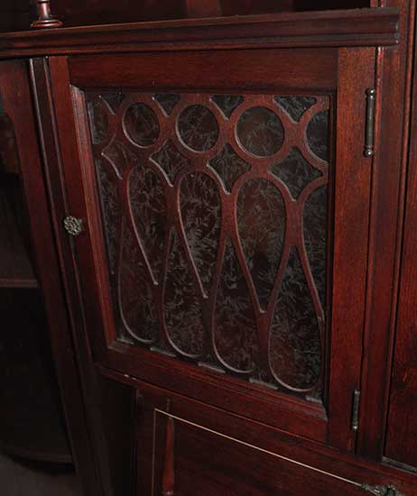 Mahogany Side By Side Secretary With Curved Glass Doors