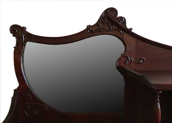 Mahogany Side-by-Side Secretary, with Curved Glass Doors, Beveled Mirror & Inlay Desk Cover