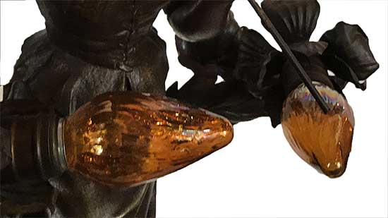 Newel Lamp, with Female Figure & Five Fixtures