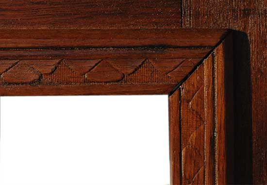 Walnut Half Mantel, with Incised Details