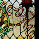 Stained Glass Window, with Torches and Jewel-Cut Glass