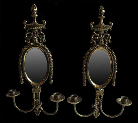 Pair of Brass, Double-Armed Sconces, with Mirror Backs