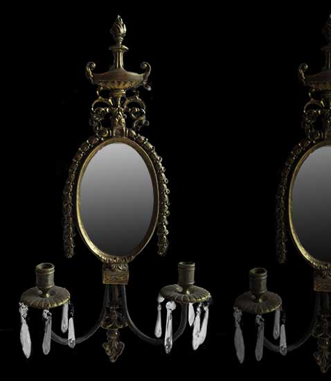 Pair of Brass, Double-Armed Sconces, with Crystals & Mirror Backs