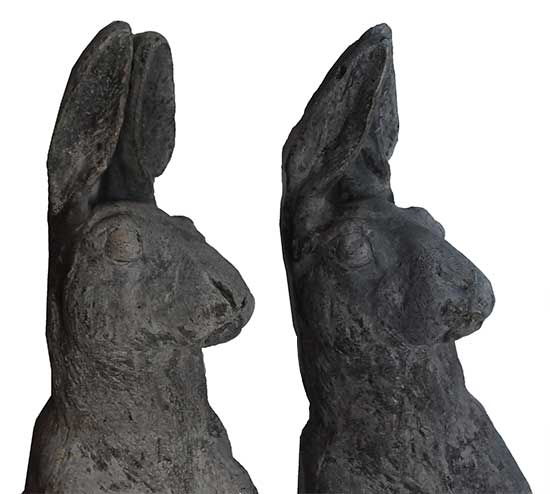 Pair of Lead English-Made Rabbit Decorations