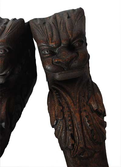 Pair of Wired Oak Lion Heads