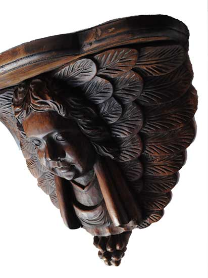 Pair of Carved Mahogany Cherub Shelves