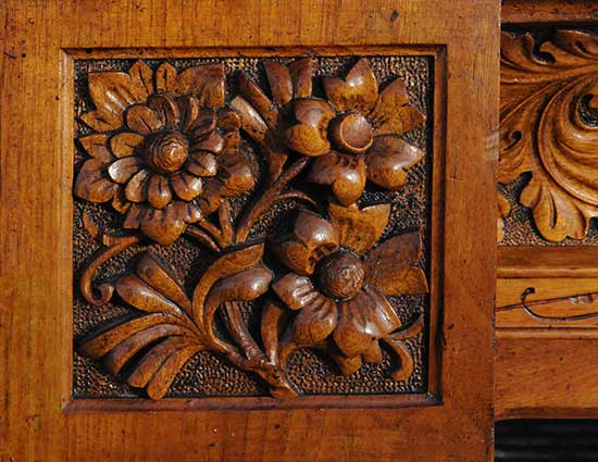 Finely Carved Walnut Half Mantel