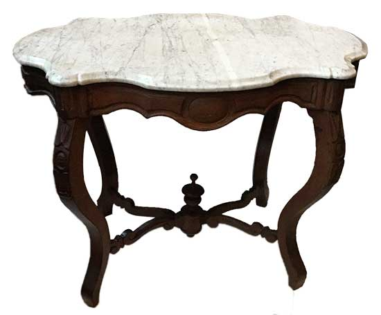 """Mahogany Table, Circa 1870, with White """"Turtle Top"""" Marble"""