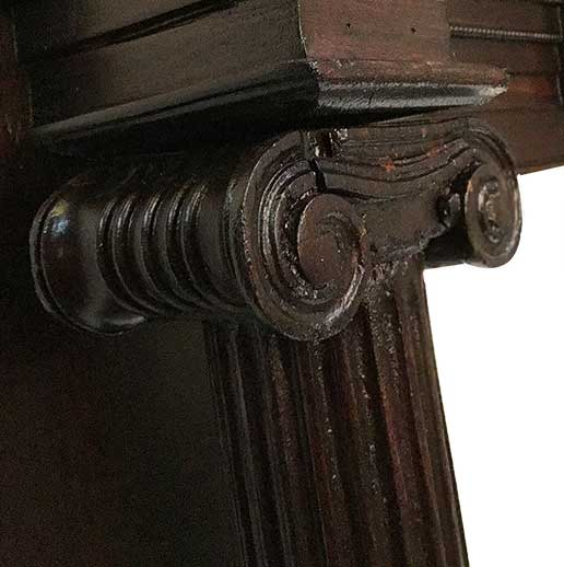 Cherry Half Mantel, with Curved Shelf & Carved Columns