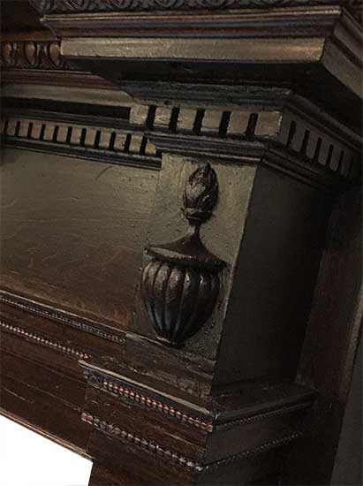 Cherry Mantel, with Curved Mantel Shelf & Carved Columns
