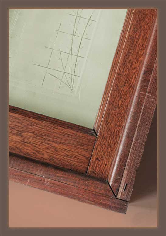 Wheel-Cut Glass Panel in Oak Frame