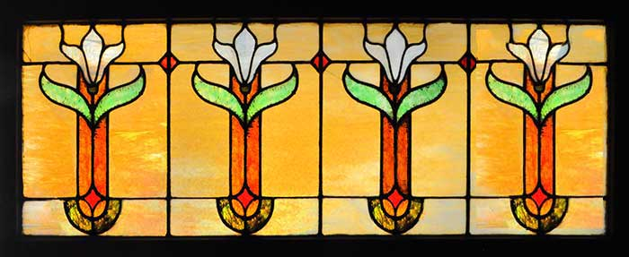 Stained Glass Window, with Lilies