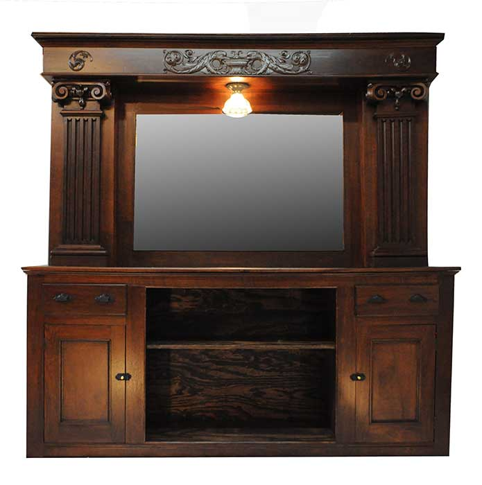 Walnut Back & Front Bar, with Large Mirror