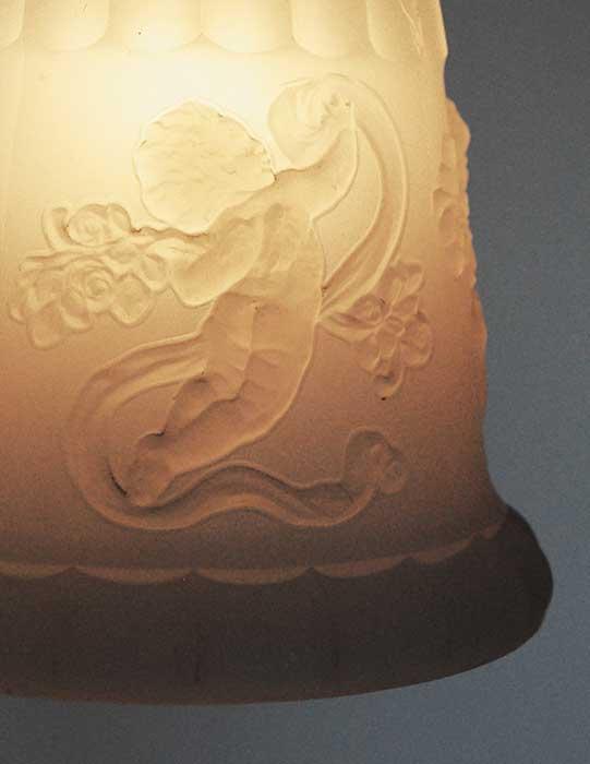 Five-Armed Chandelier, with Molded Milk-Glass Cherub-Relief Fixtures