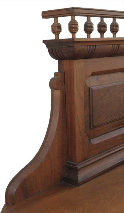 Walnut Faux Mantel with Cabinets & Drawers