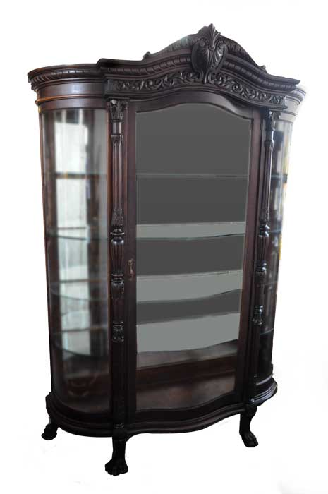 Large Mahogany China Cabinet, with Curved Glass Door